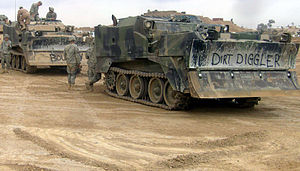 M9 Armored Combat Earthmover - Two M9 ACEs staged ready to go out on a mission in Iraq.