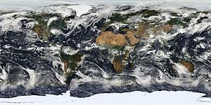 Cloud cover - Satellite image based largely on observations from NASA's Moderate Resolution Imaging Spectroradiometer (MODIS) on July 11, 2005 of Earth's cloud cover.