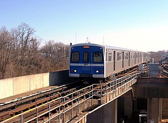 Baltimore Metro Subway - Metro Subway train entering the Reisterstown Plaza station, bound for Owings Mills