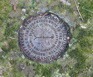Survey marker - Reference marker for triangulation station in upper photo