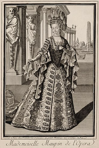 "Julie d'Aubigny - ""Mademoiselle Maupin de l'Opéra"". Anonymous print, ca. 1700."