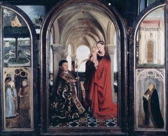 Madonna of Nicolas van Maelbeke - Copy after Jan van Eyck's Madonna and Child with a Donor. 172cm x 99cm. before 1757–60.