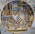 Maiolica di urbino, alfonso patanazzi, scena di congiarium, 1590 ca.jpg
