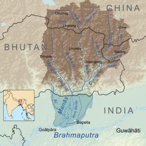 Kuri Chhu - Image: Manasrivermap