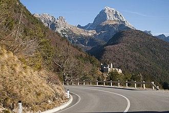 Predil Pass - Pass road with Mount Mangart