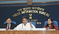 Manish Tewari addressing a Press Conference on 'Digitization and related issues', in New Delhi. The Secretary, Ministry of Information & Broadcasting, Shri Uday Kumar Varma and the Principal Director General (M&C).jpg