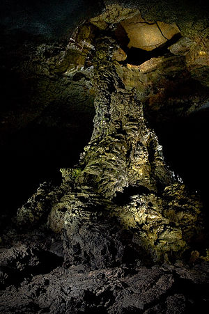 Lava tube - A rare characteristic of lava tubes are lava pillars. This is the Manjanggul lava pillar located in the Manjanggul lava tubes on the island of Jeju-do, Korea.