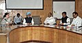 Manmohan Singh holding a high level meeting on his arrival at the Mumbai airport, in Mumbai. The Chairperson, National Advisory Council, Smt. Sonia Gandhi and the Chief Minister of Maharashtra.jpg