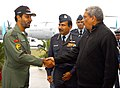 Manohar Parrikar being received by Group Captain Tejbir Singh, Commanding Officer, 77 Squadron, in the presence of the Chief of the Air Staff, Air Chief Marshal Arup Raha, during his visit to the Air Force Station Hindan.jpg