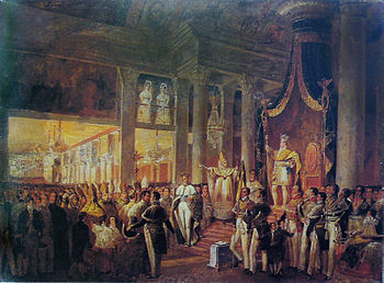 Painting showing the crowned emperor standing before the throne in a columned hall and grasping a scepter with a crowd of dignitaries assembled below.