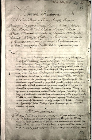 Constitution of May 3, 1791 - Page one of the original copy of the Constitution