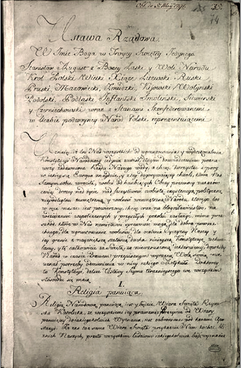 The Constitution of 3 May adopted in 1791 was the first modern constitution in Europe. Manuscript of the Constitution of the 3rd May 1791.PNG