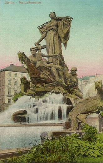 Szczecin - Sedina Monument (1899–1913). Sedina was a personification of Stettin. The statue was scrapped for copper in 1942, and after the war it was replaced with an anchor. In 2012 the authorities approved plans for a reconstruction of the statue