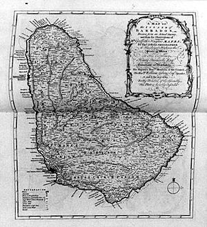 Griffith Hughes - Image: Map Of Barbados 1750