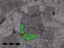 The town centre (red) and the statistical district (light green) of Benthuizen in the municipality of Rijnwoude.