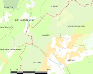 Ganges, Hérault - Map