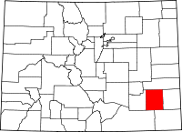 Map of Colorado highlighting Bent County
