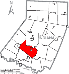 Map of Indiana County, Pennsylvania Highlighting Center Township.PNG