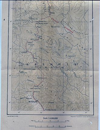 Mintaka Pass - Image: Map of Kashmir published by The Survey Of India