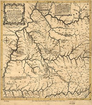 History of Kentucky - Map of Kentucky published in 1784 along with The Discovery, Settlement and Present State of Kentucke by John Filson