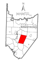 Map of Armstrong County, Pennsylvania highlighting Kittanning Township