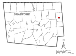 Map of Bradford County with Le Raysville highlighted