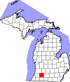 State map highlighting Kalamazoo County