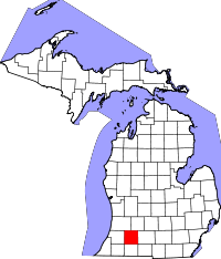Map of Michigan highlighting Kalamazoo County