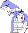 State map highlighting Oscoda County