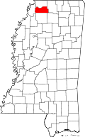Map of Mississippi highlighting Tate County