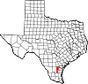 State map highlighting Jim Wells County