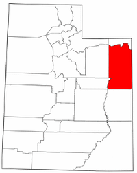 Map of Utah highlighting Uintah County.png