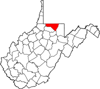 Map of West Virginia highlighting Monongalia County