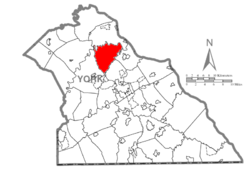 Map of York County, Pennsylvania highlighting Conewago Township