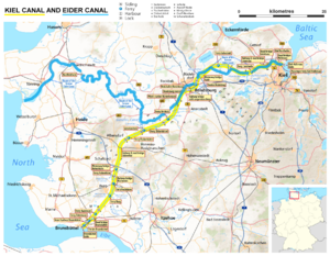 Eider Canal - Map of the Eider Canal (blue) and succeeding Kiel Canal in Schleswig-Holstein