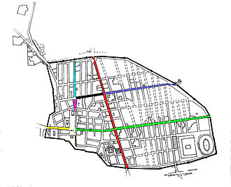 House of Loreius Tiburtinus - Map of Pompeii's layout highlighting main streets. Via Dell'Abbondanza is in green