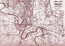Mappa della zona vicino a Verona del 1848 con le fortificazioni