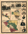 Maps of Nicaragua, North and Central America- Population and Square Miles of Nicaragua, United States, Mexico, British and Central America, with Routes and Distances; Portraits of General Walker, WDL152.png