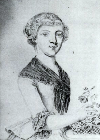 Mozart and scatology - Self-portrait in pencil of Maria Anna Thekla Mozart, from 1777 or 1778