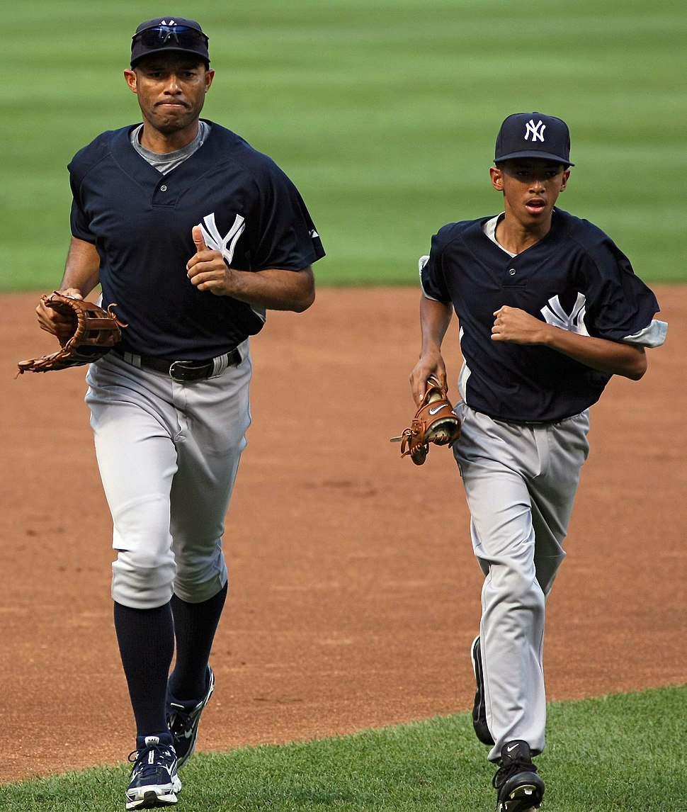 Mariano Rivera and son pre-game in Baltimore August 2008