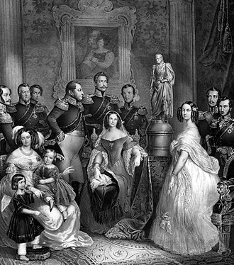 Maria Alexandrovna (Marie of Hesse) - Marie of Hesse and by Rhine (right) with her family. The statue is Ludwig I. His eldest son, Ludwig II stands in profile to the left center; his second son Georg, is to the left of Ludwig (with a sash). Friderich, the third son, is between them and the youngest, Emil, stands on the extreme right. The portrait on the wall is Wilhelmine, Ludwig II's wife. Their eldest son, Ludwig III, is the very tall man in the center, behind his wife Mathilde. Their second son Carl, is on the extreme left, behind his wife Elisabeth and their children, Ludwig IV and Heinrich. Prince Alexander is standing between his brother and the statue, and Ludwig II's youngest child, Marie, stands to the right of the statue. Her husband Tsarevich Alexander is between her and Prince Emil. 1841.