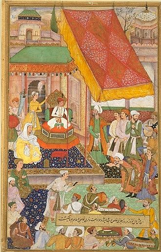 Maham Anga - Seated just below Akbar himself denotes Maham Anga's position in the Imperial court