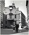 Mary Collins; Mark Bortman, Chairman of the Civic Committee of the People-to-People Program; and unidentified woman in front of the Old State House (10426019395).jpg