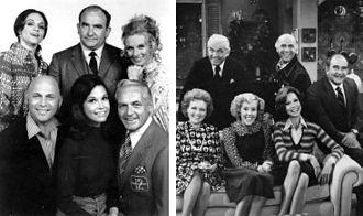 The Mary Tyler Moore Show - First season cast: (left top) Harper, Asner, Leachman; (left bottom) MacLeod, Moore, Knight. Last season cast: (right top) Knight, MacLeod, Asner; (right bottom) White, Engel, Moore.