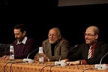 Michele Serra, Vittorio Zucconi e Massimo Gramellini al Festival internazionale del giornalismo di Perugia nel 2010