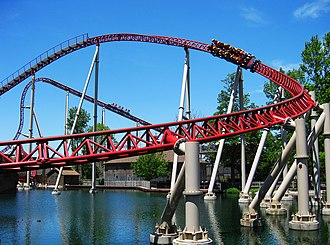Maverick (roller coaster) - Maverick's 105-foot, 95 degree drop and turnaround in the former Swan Boat pond