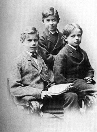 Max Weber and his brothers, Alfred and Karl, in 1879 Max Weber and brothers 1879.jpg