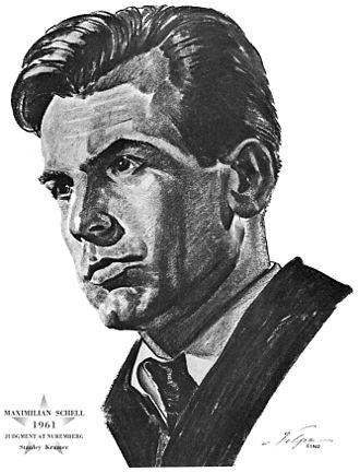 Maximilian Schell - Drawing of Schell after he won an Oscar for Judgment at Nuremberg (1961). Artist: Nicholas Volpe