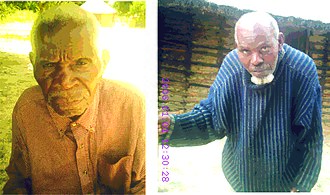 Mbunda people - Two of the Members of the Mbunda Bible Translation Committee in Kaoma, Zambia: Elijah Kavita (97) left and Jeremiah Maliti Nkwanda (99) on 1 January 2006.