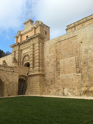 Mdina Gate - Mdina Gate and the walled up medieval entrance